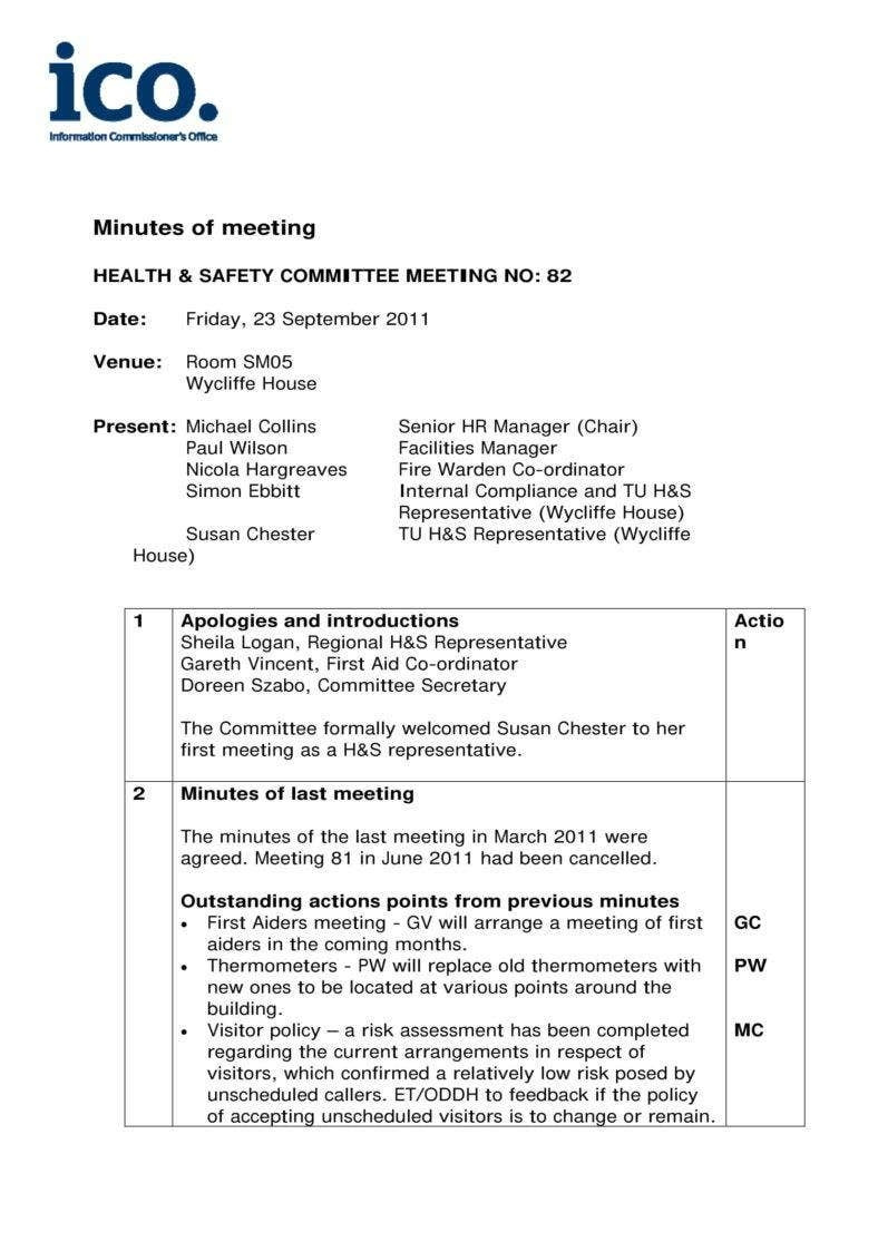Meeting Minutes Template Excel