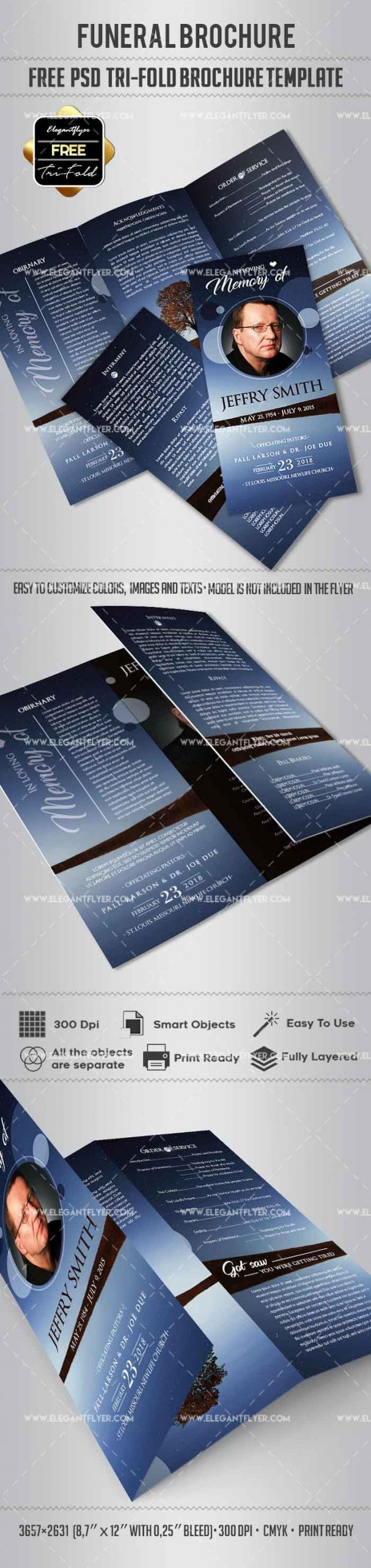 Memorial Bookmarks Template Free