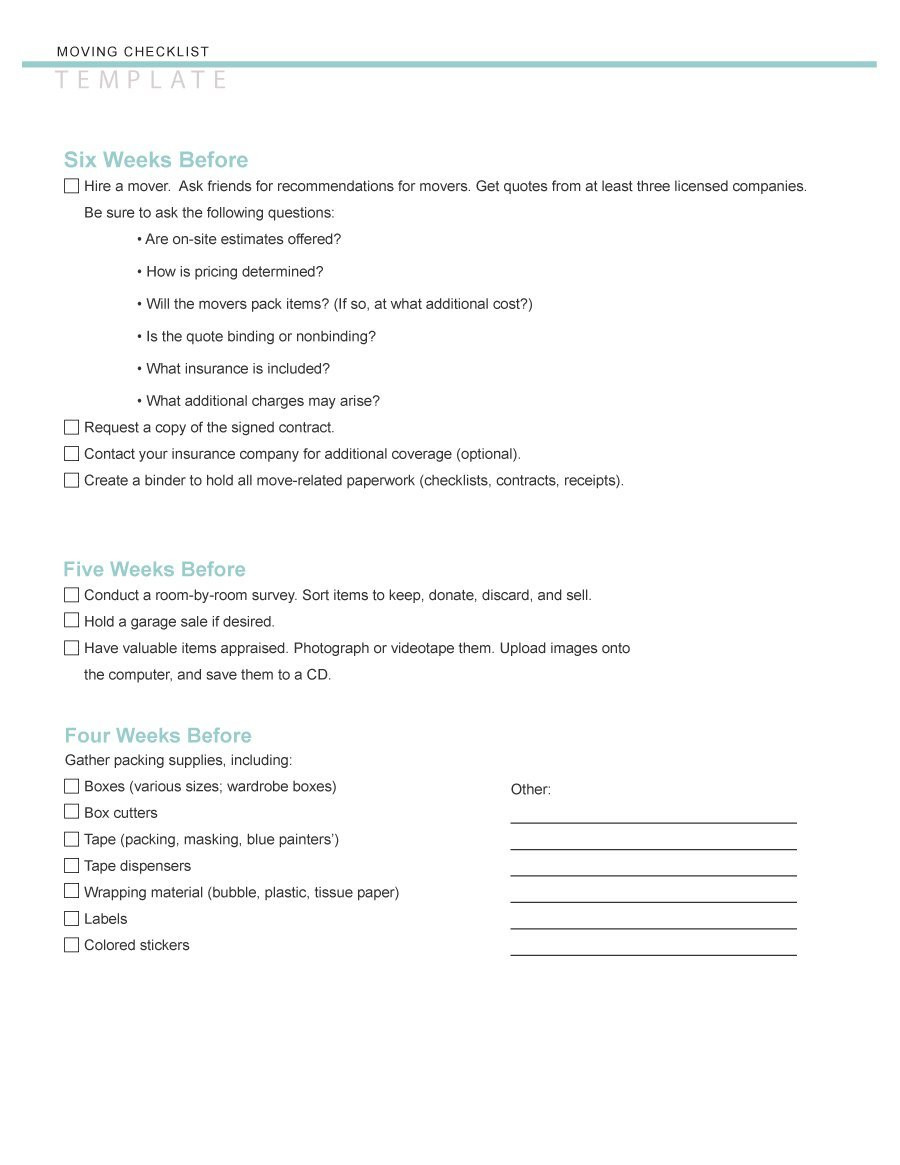 Moving Packing List Template