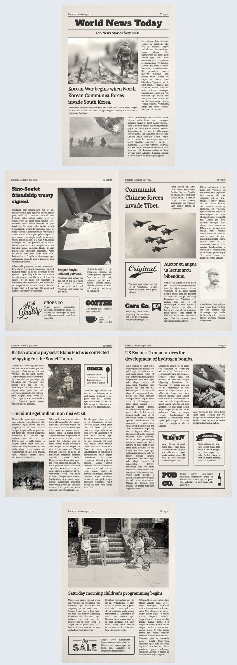 Old Time Newspaper Template