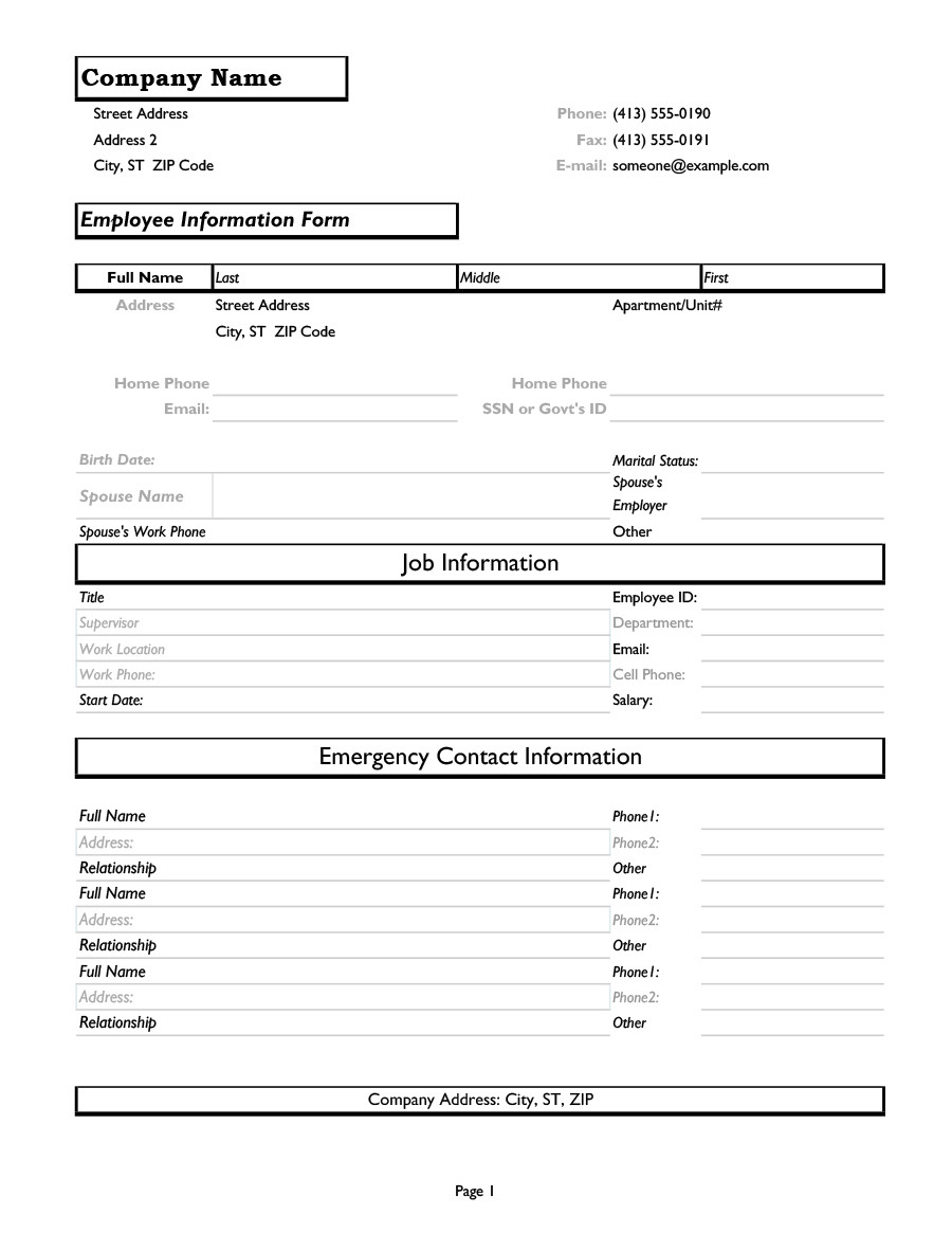 Personal Information form Template