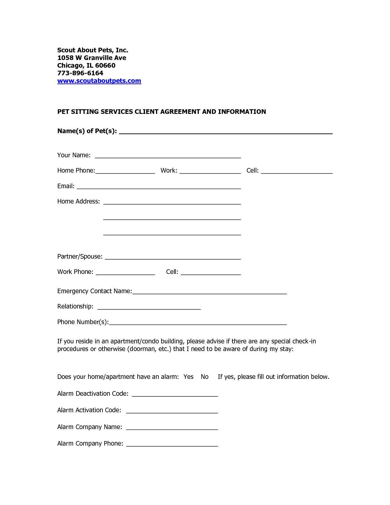 Pet Sitting forms Template