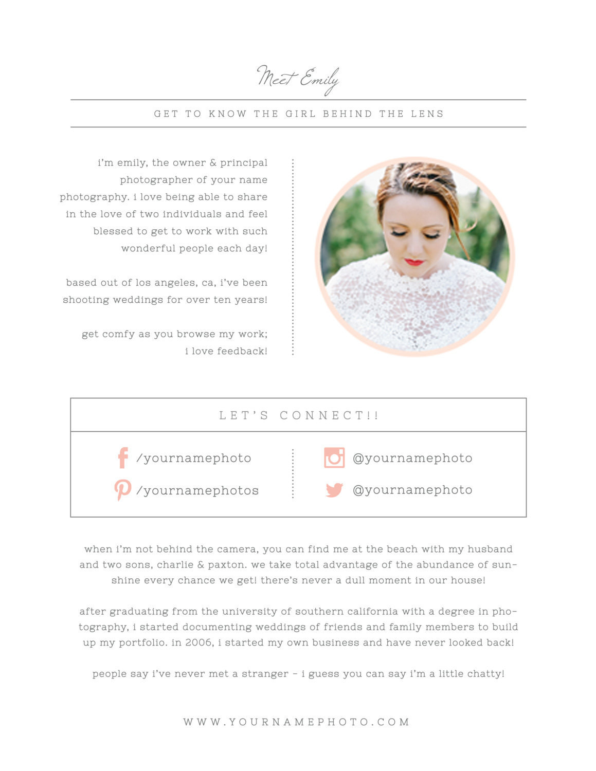 graphy Templates About Me Page Digital shop Templates Marketing Wedding grapher Branding m0202