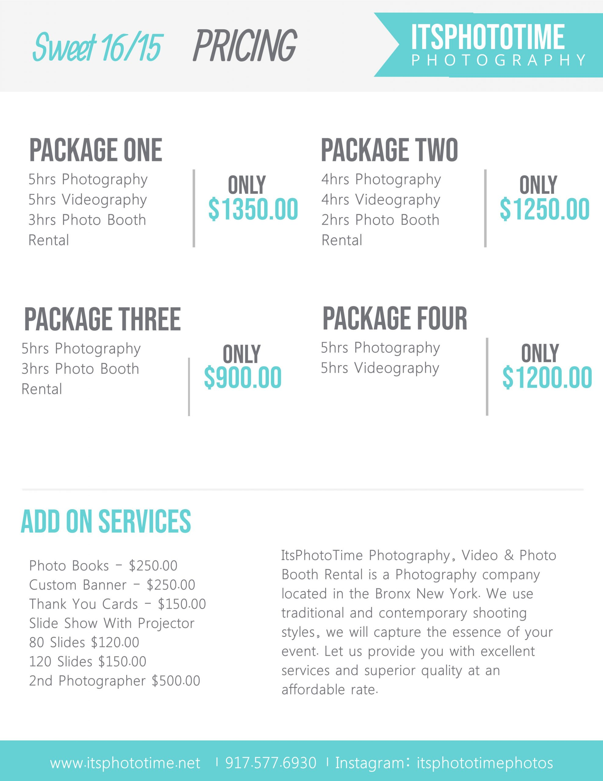 Photography Package Pricing Template
