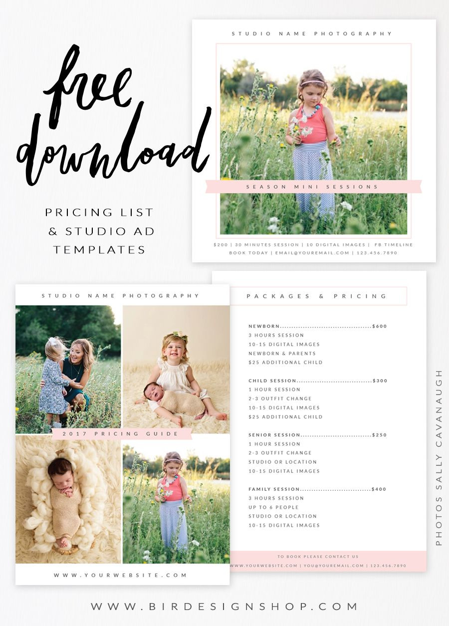 Free Pricing list & Studio Ad templates
