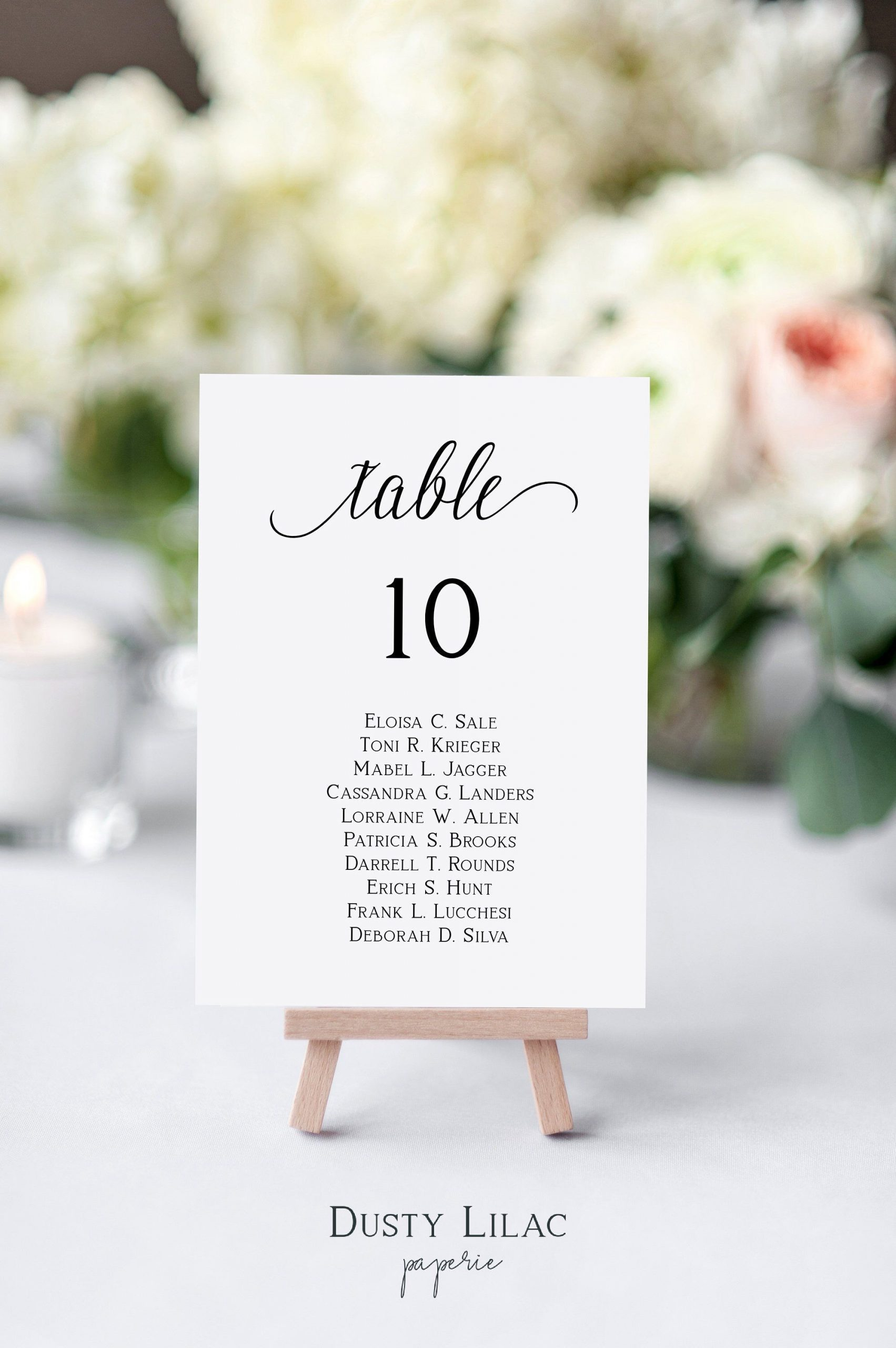 wedding table number seating chart cards template editable