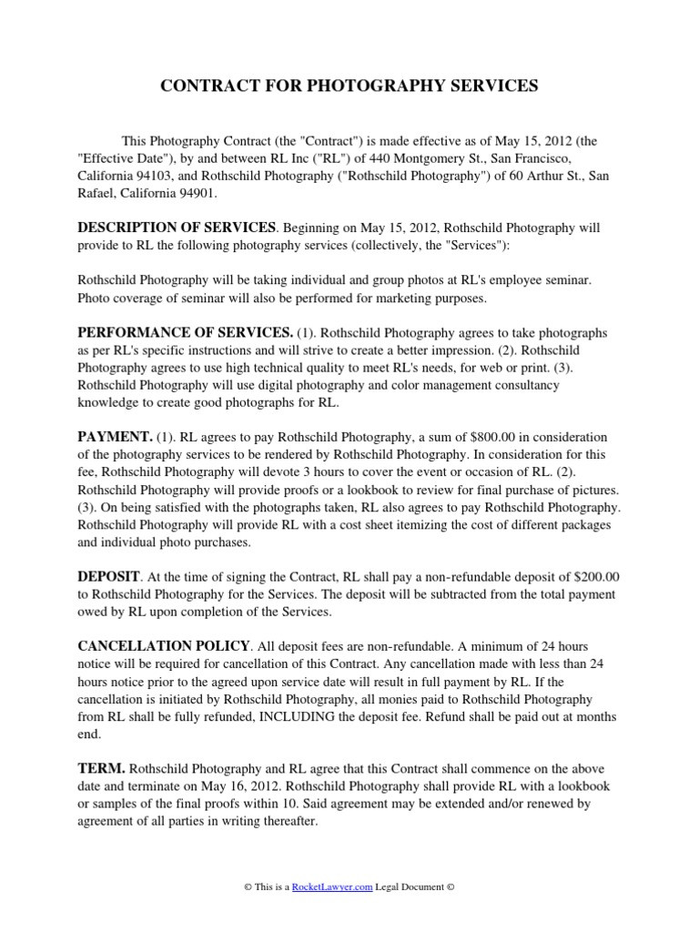 Portrait Photography Contract Template