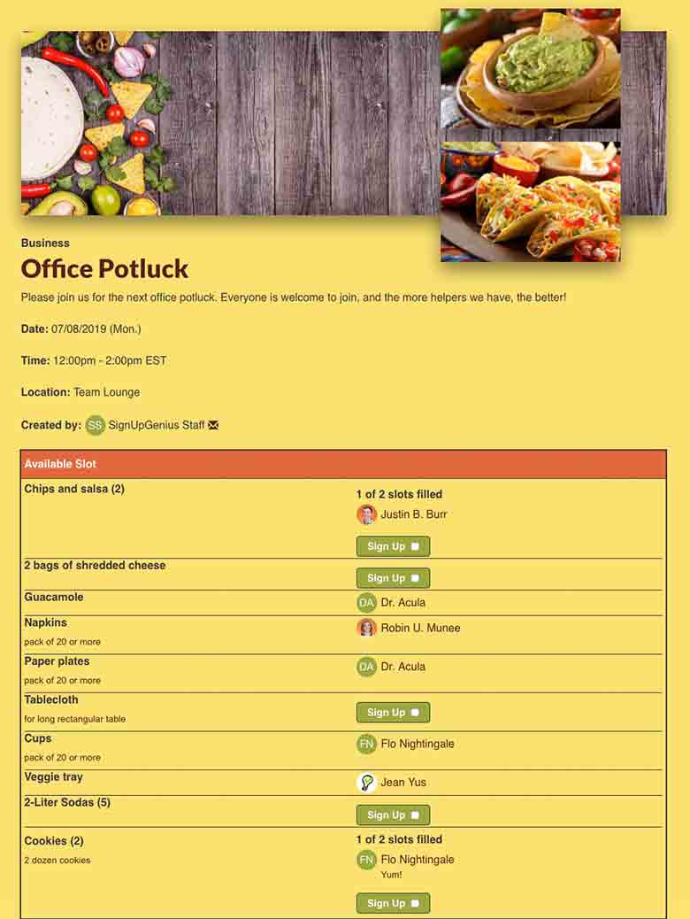 Potluck Signup Sheet Template