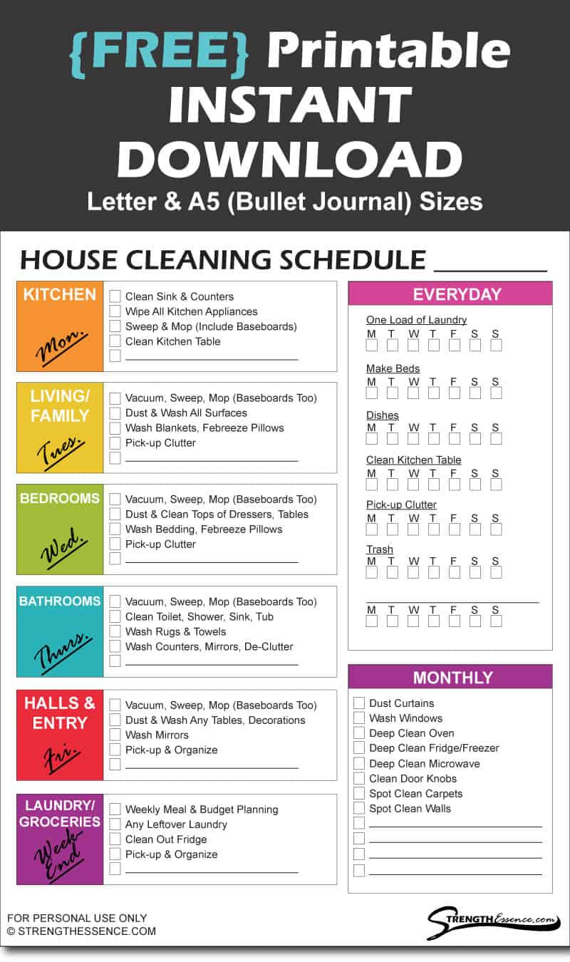 Printable Cleaning Schedule Template