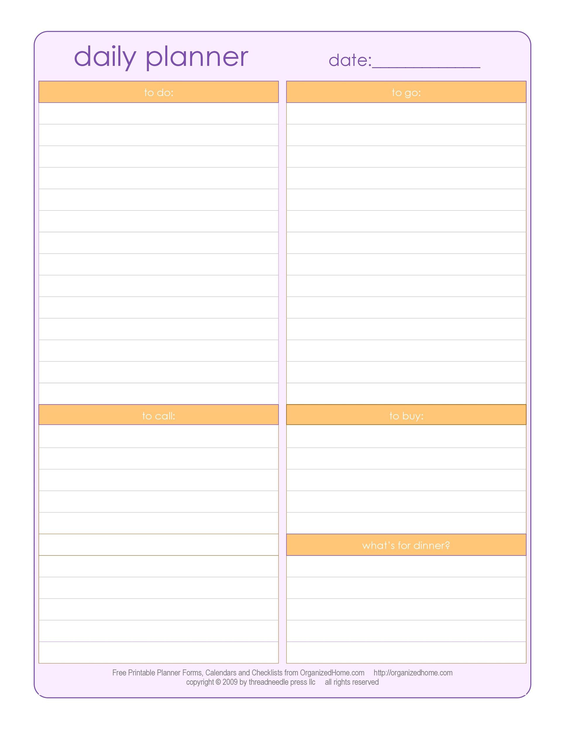 Printable Daily Schedule Template
