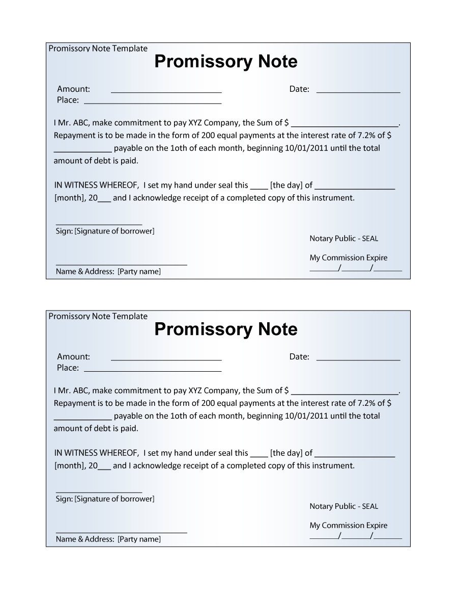 Promissory Note Template Pdf