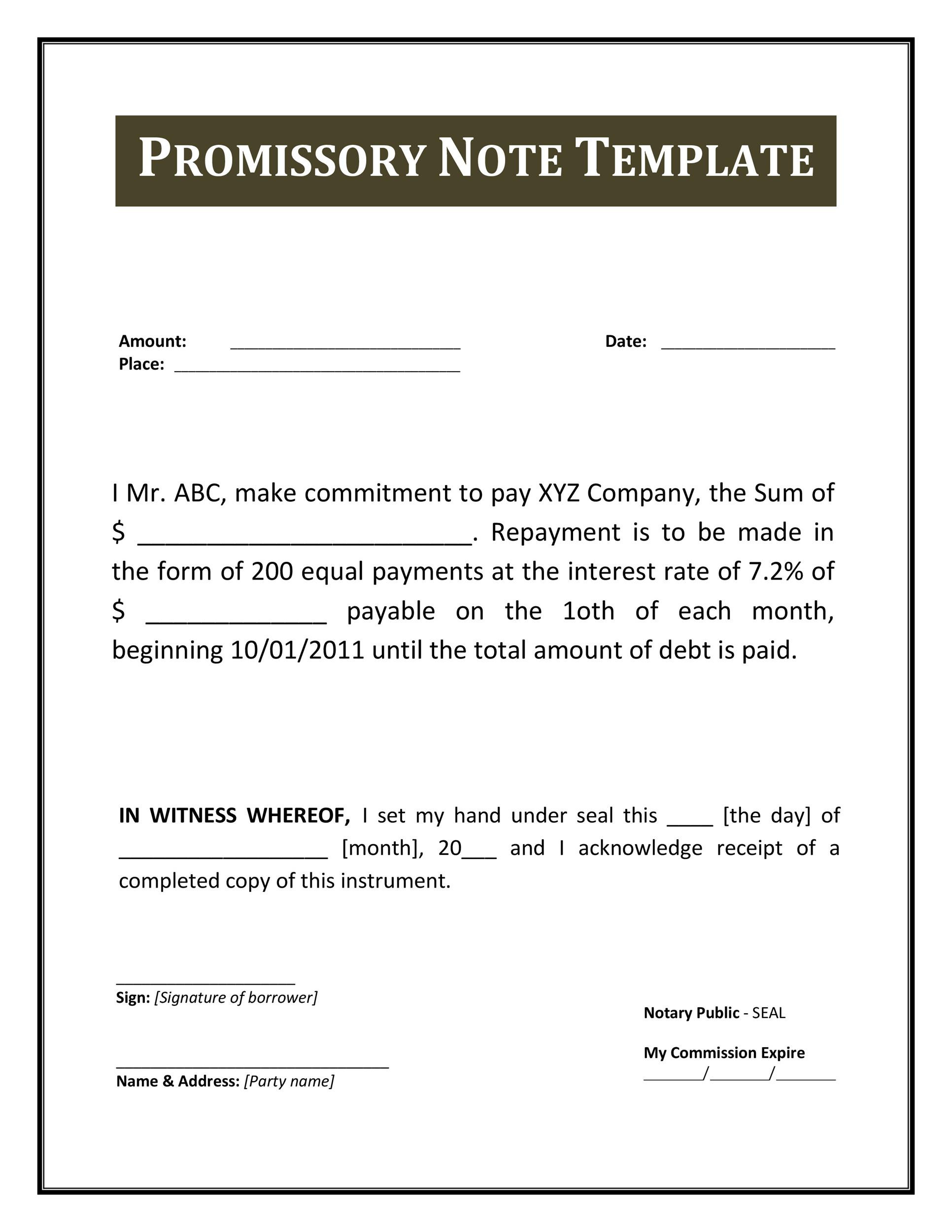 45 FREE Promissory Note Templates & Forms [Word & PDF]