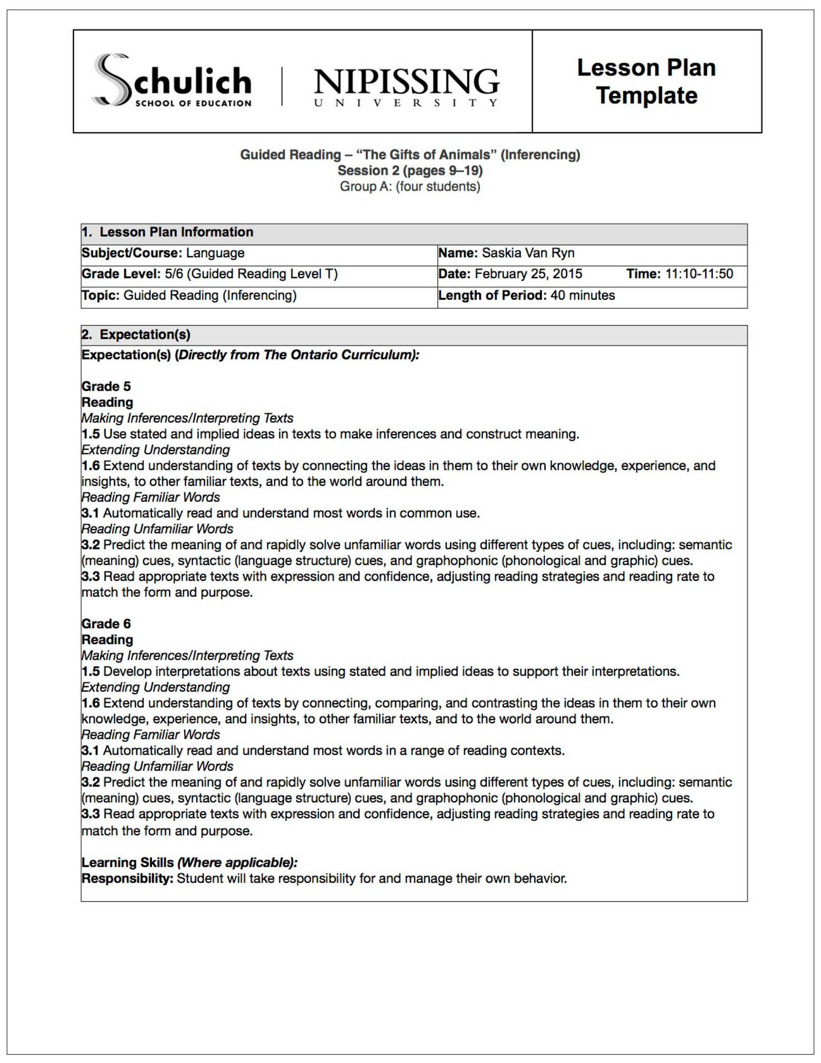 Reading Lesson Plan Template