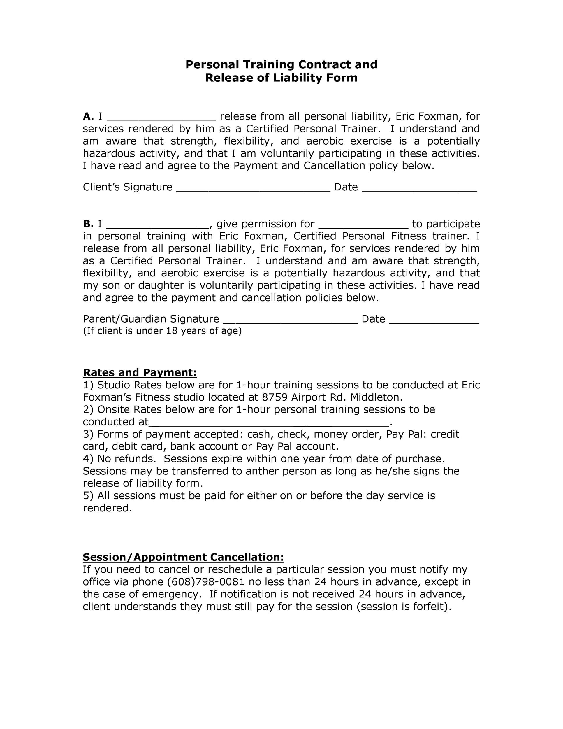 50 Free Release Liability Forms Liability Waiver