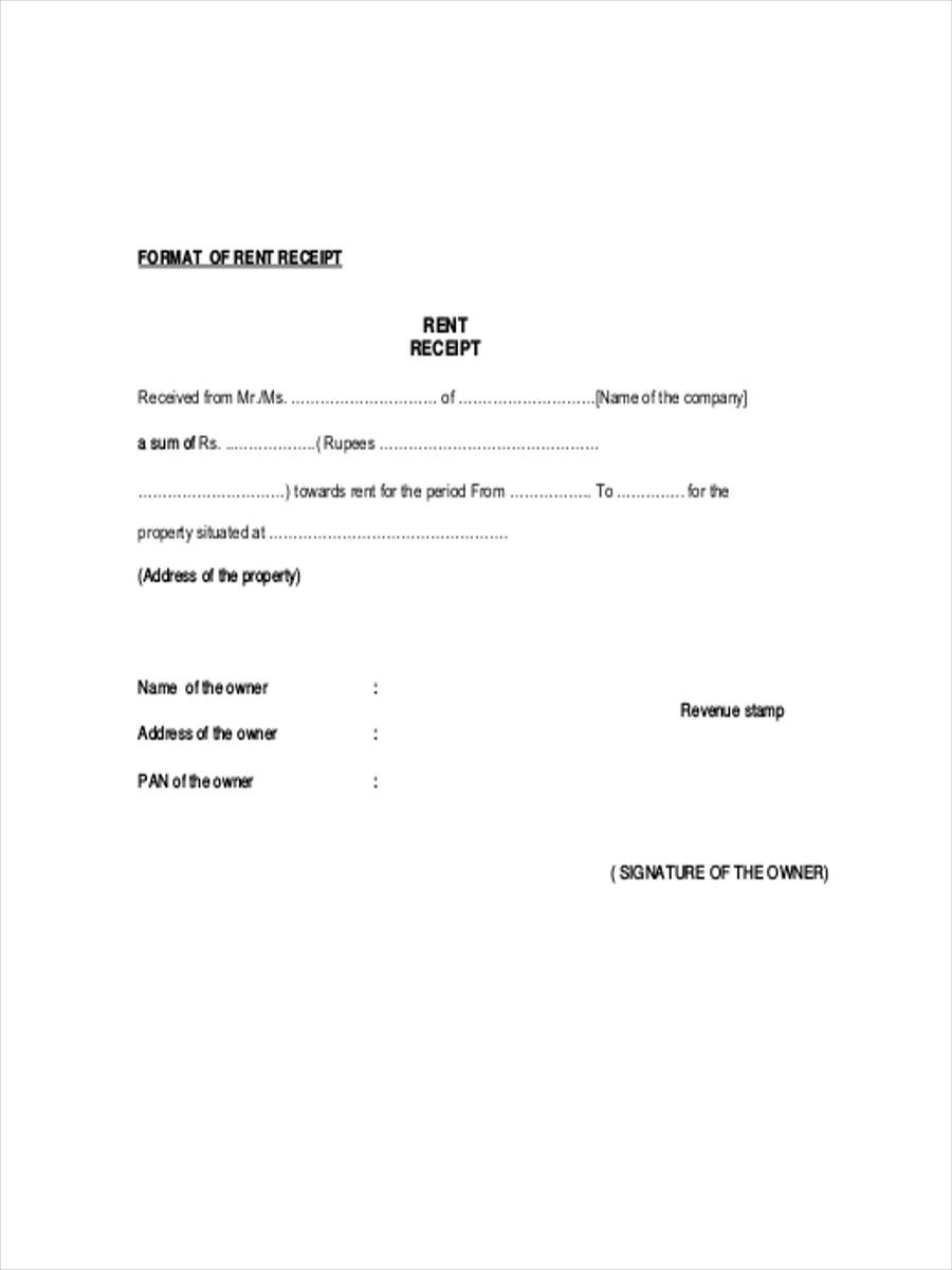 Rental Receipt Template Doc