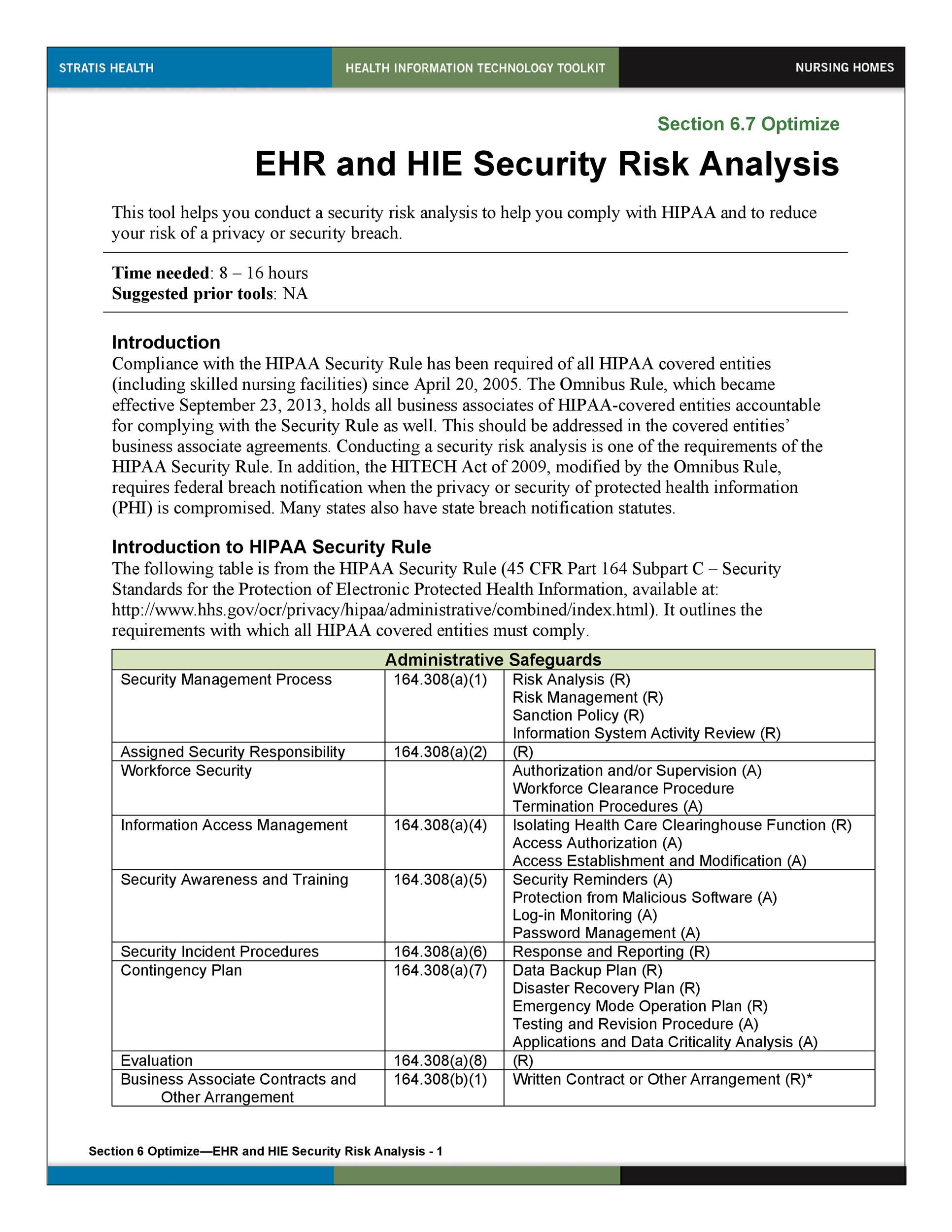 Risk Analysis Template Excel