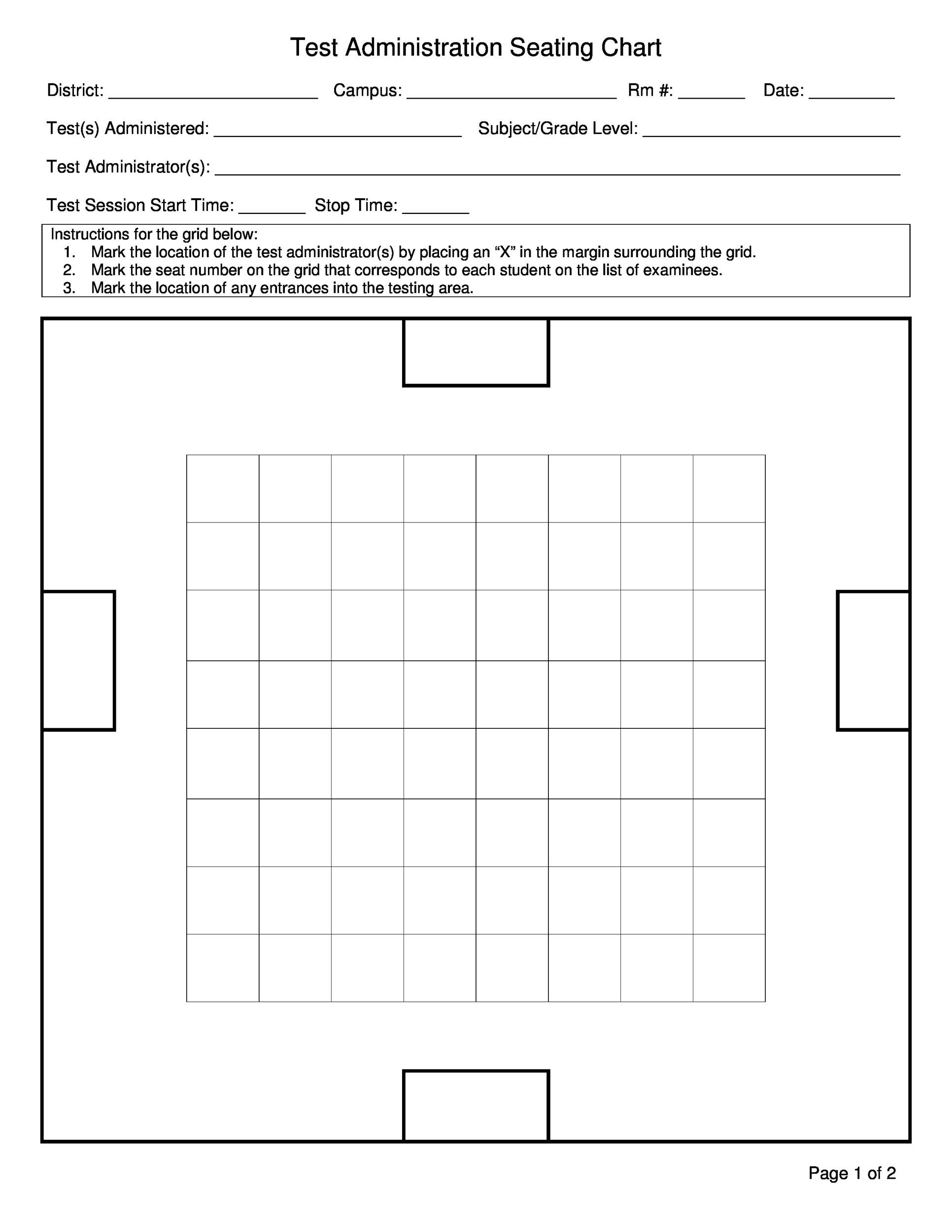 Seating Chart Template Word