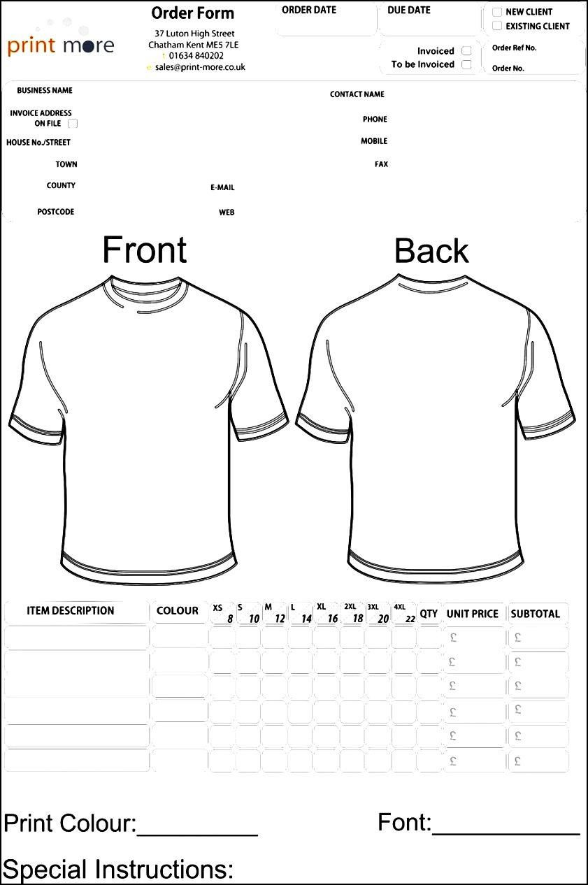Shirt order forms Template