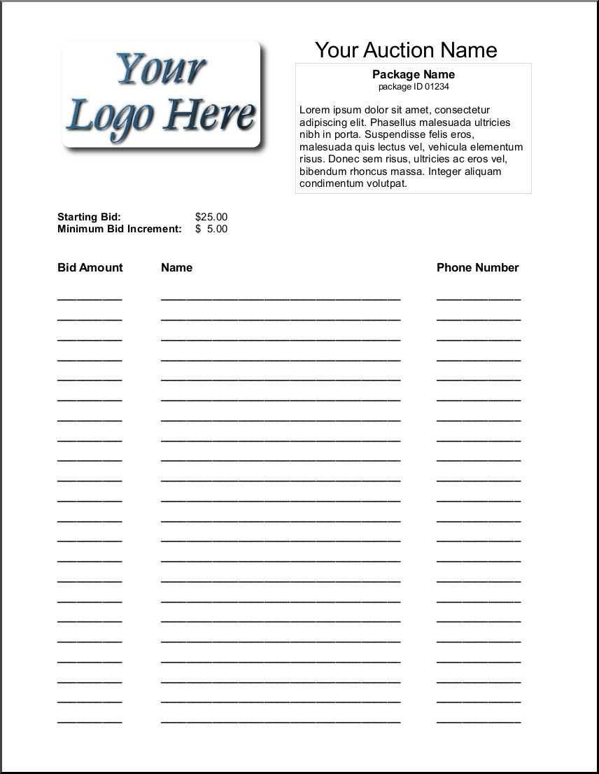 Silent Auction Sheet Template