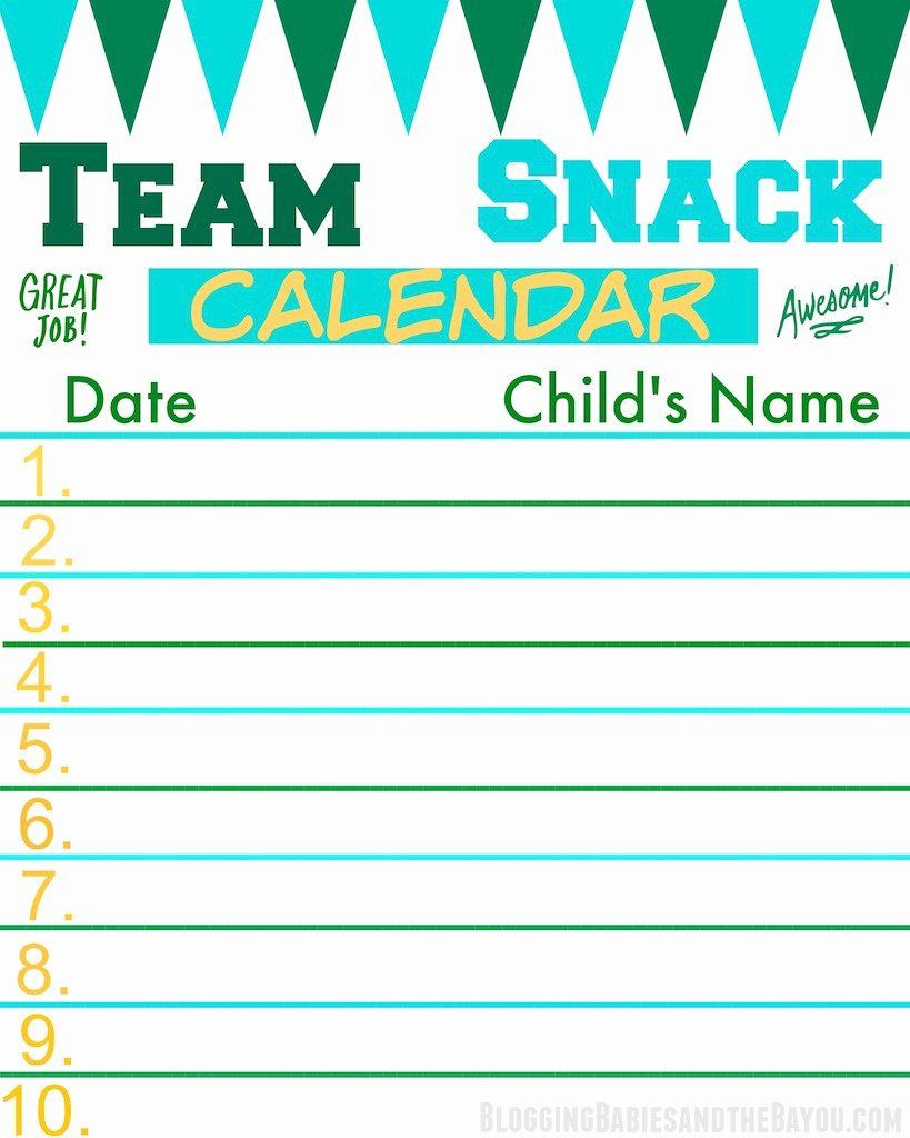 Soccer Snack Schedule Template New Score Big and F the Field