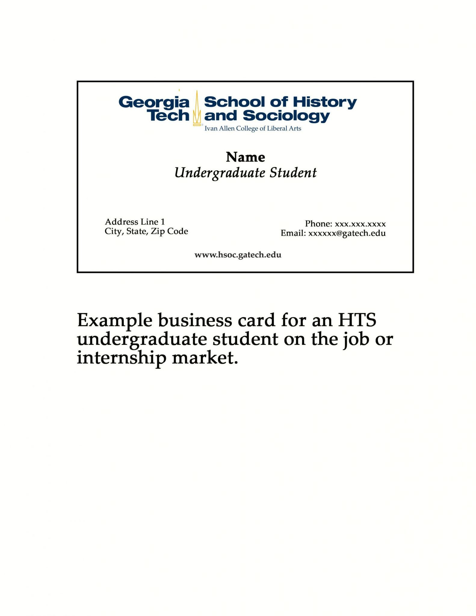 Student Business Card Template
