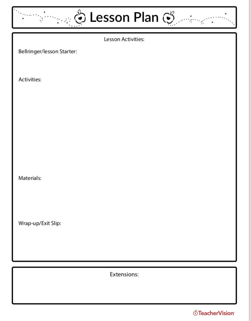 Sub Lesson Plan Template