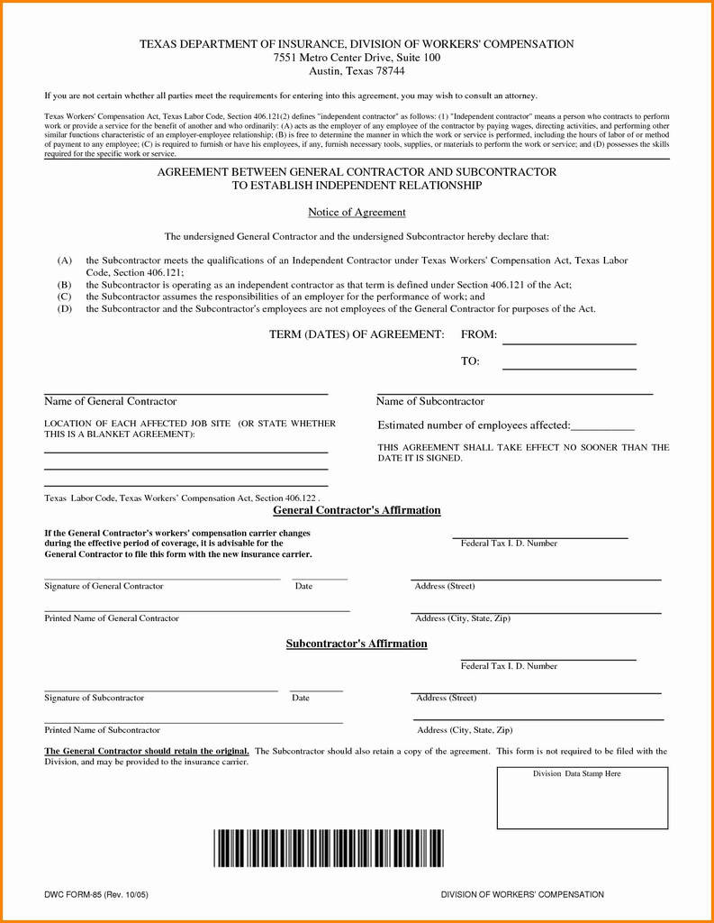 Subcontractor Agreement Template Free