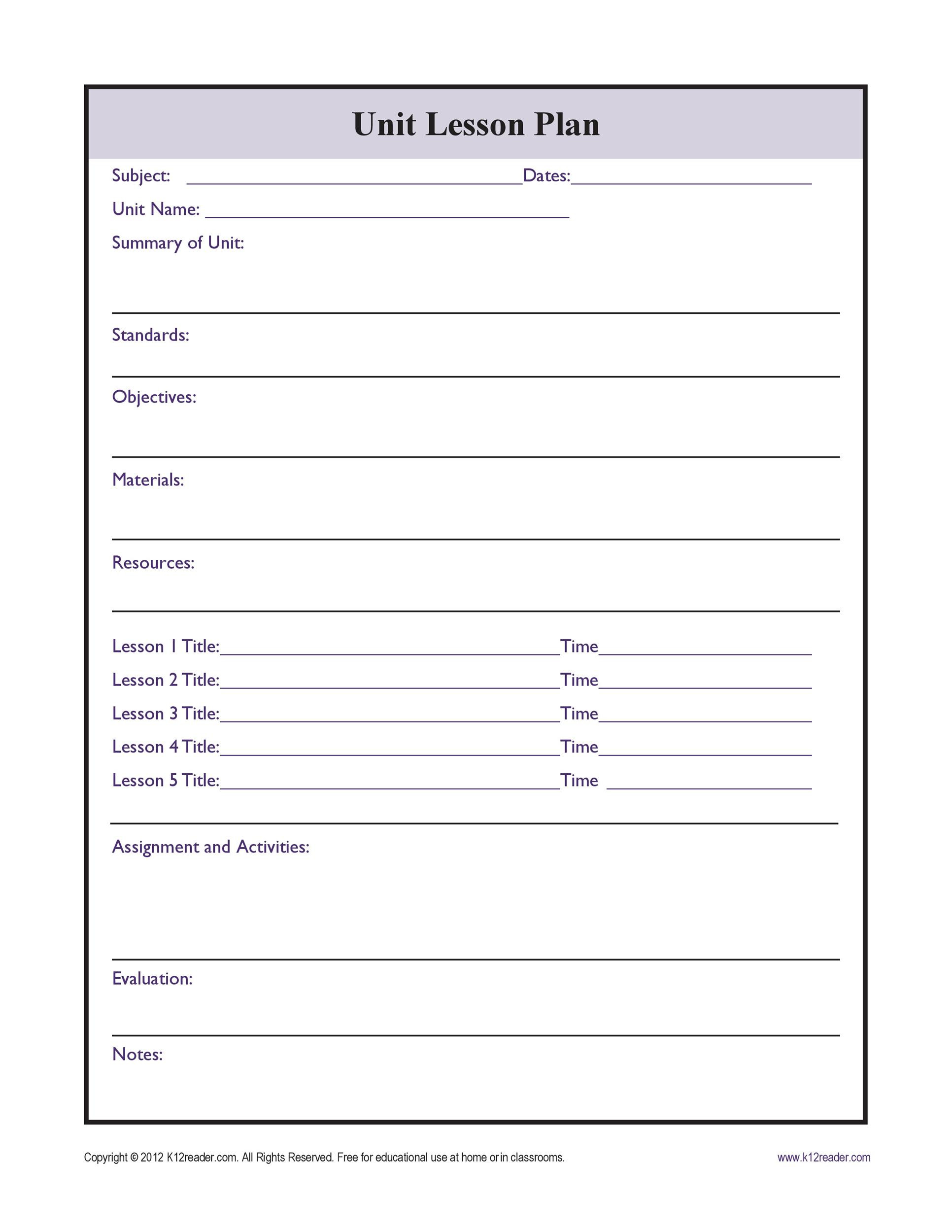 Substitute Teacher Plans Template