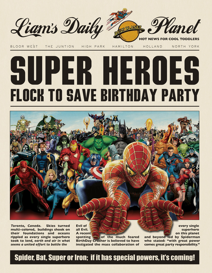 Superhero Birthday Invitation Template