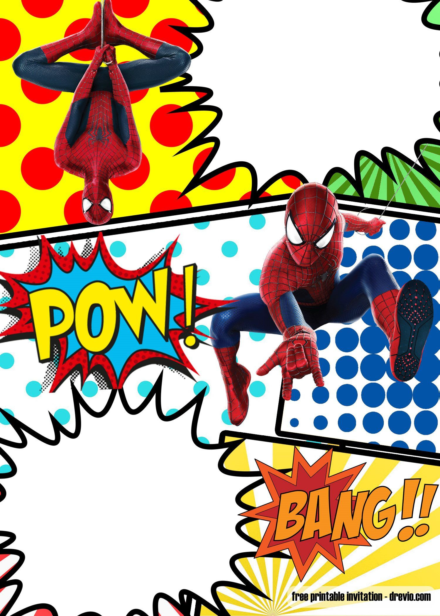 FREE Marvel Spiderman ic Style invitation template