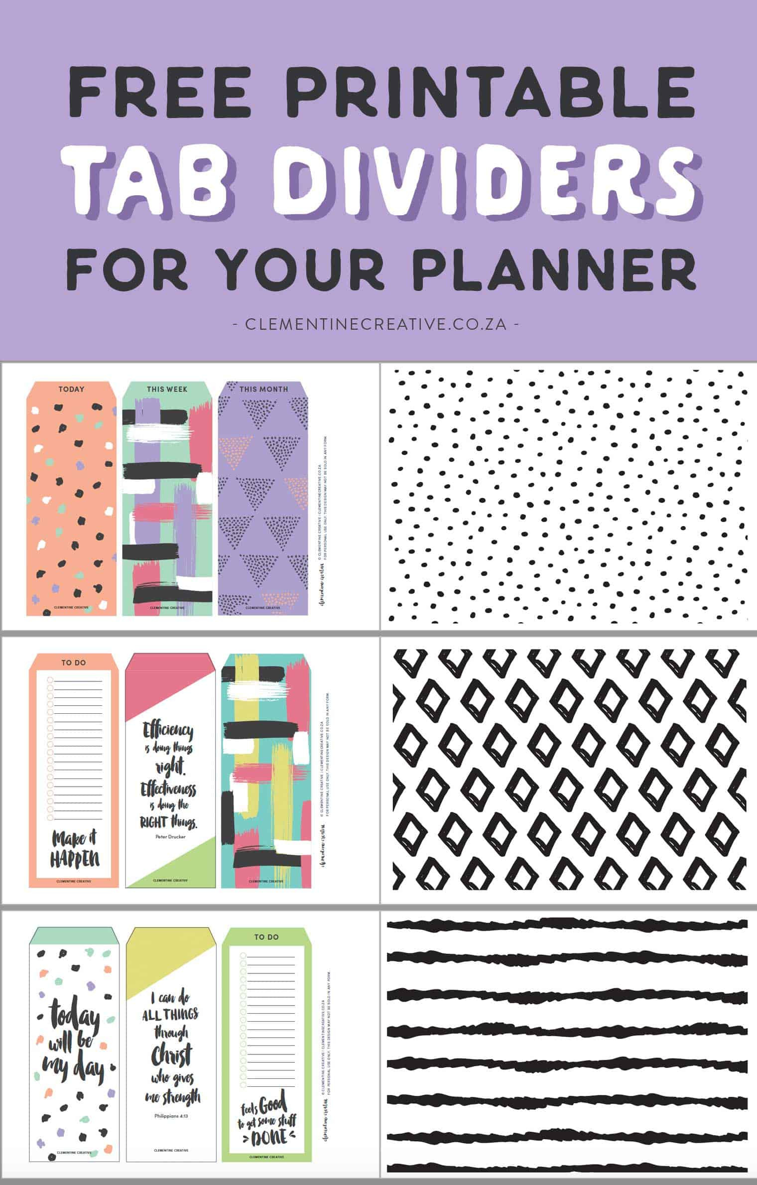 Free Printable Top Tab Dividers for Planners Diaries and