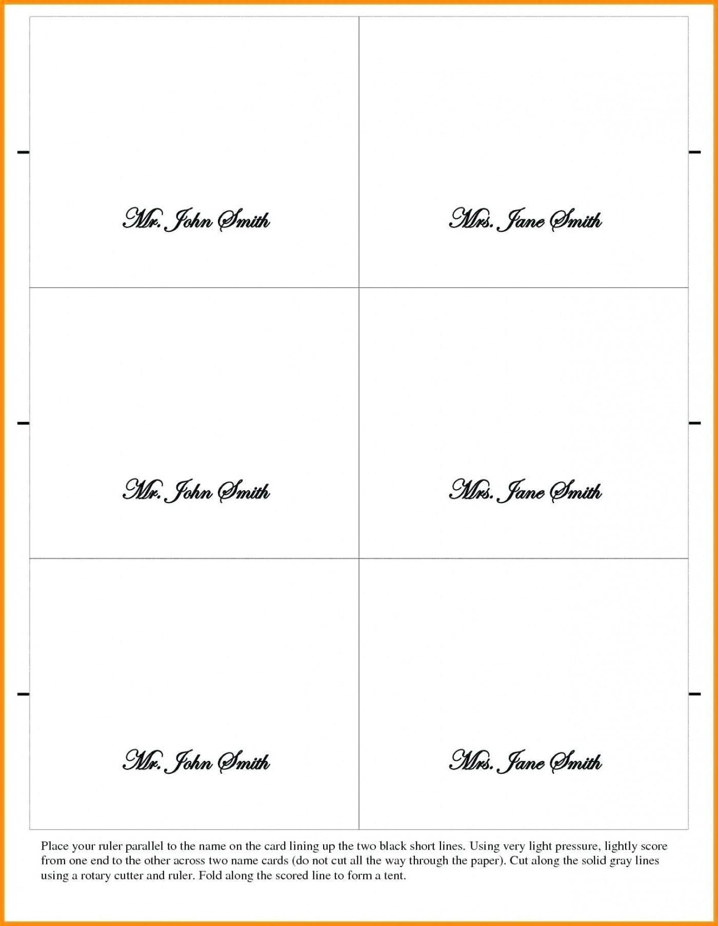 Table Name Card Template