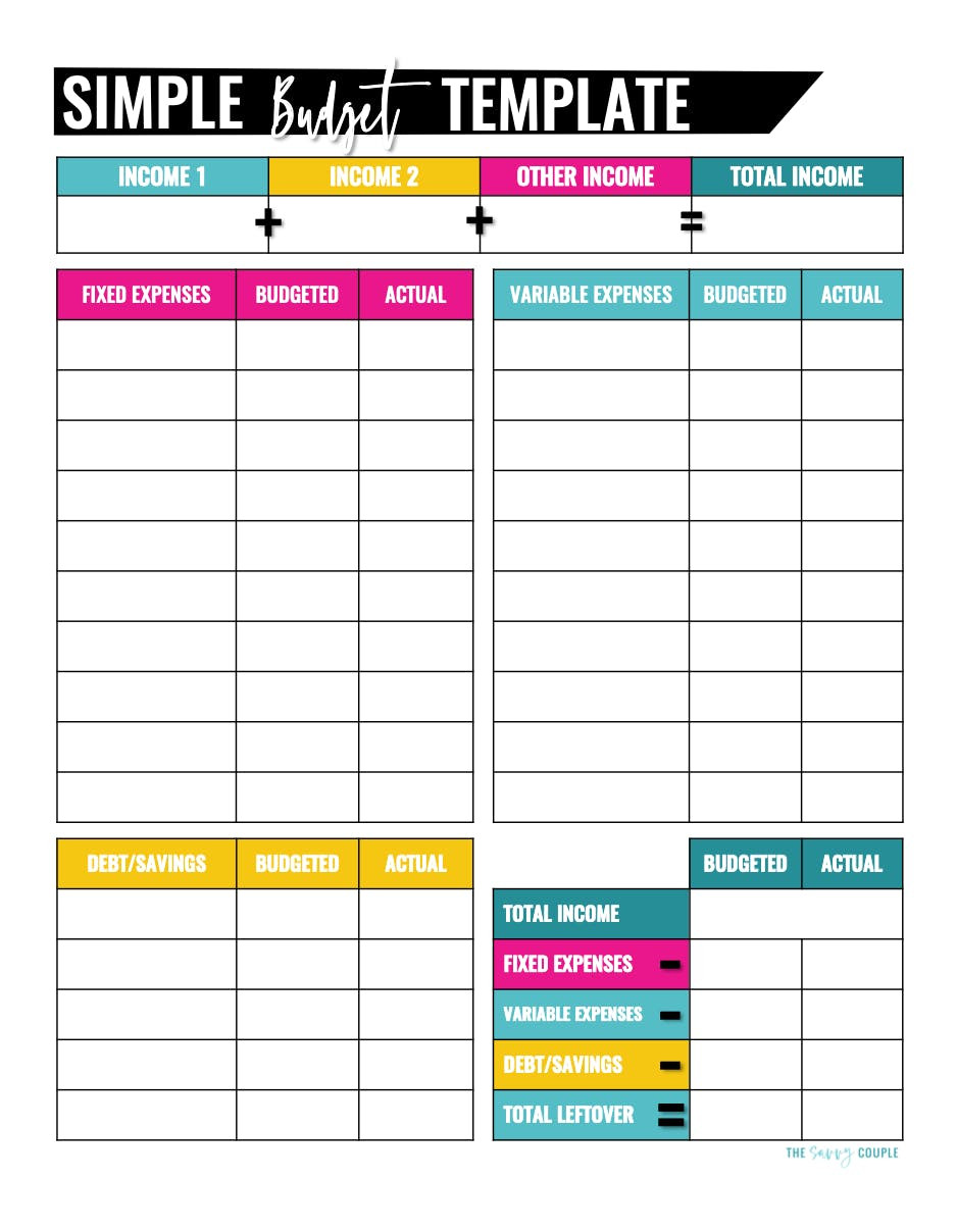 Template for Monthly Bills