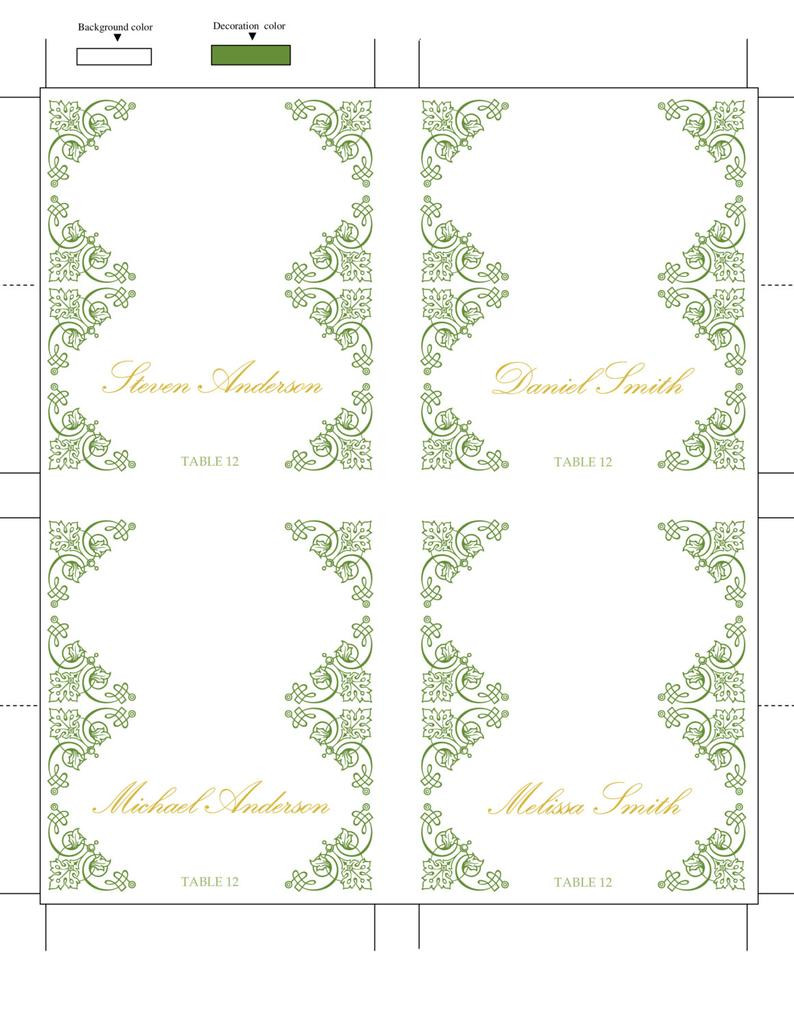Tent Card Template Word