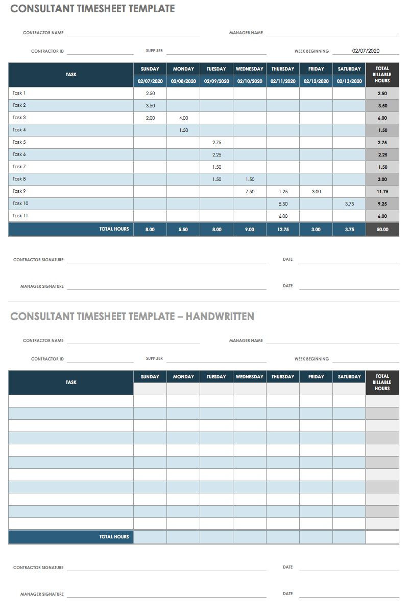 Time Card Template Free