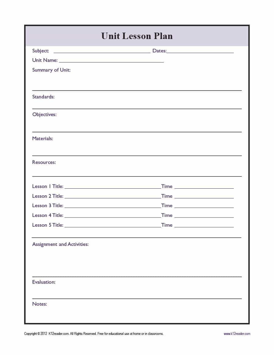 Unit Lesson Plan Template