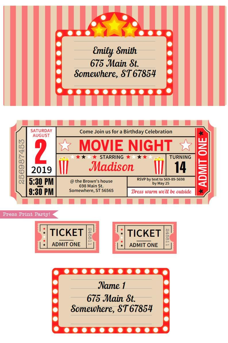 Movie Party Decorations Printables RED Vintage Movie Night