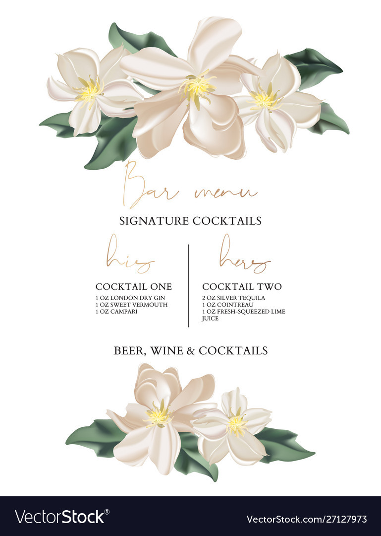 Wedding bar menu template with tender flowers and
