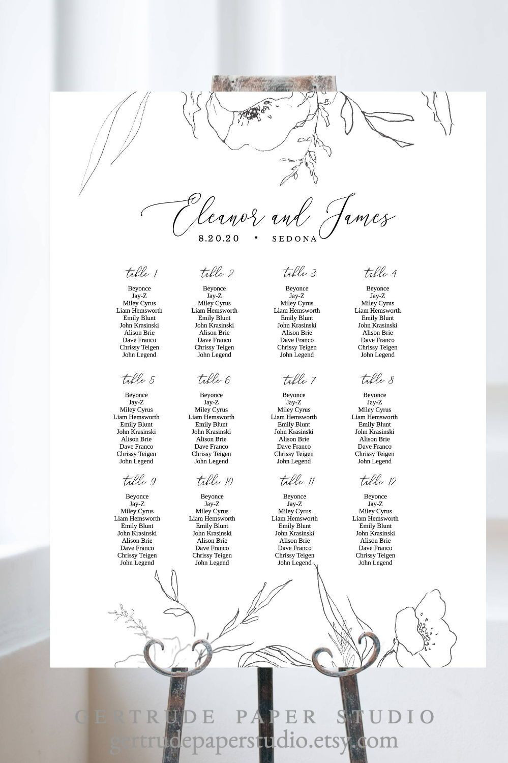 Wedding Table assignments Template