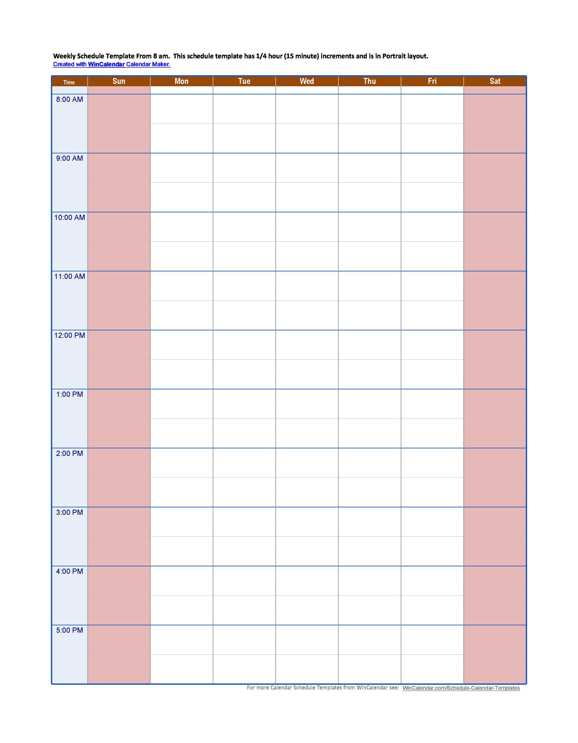 Weekly Hourly Planner Template
