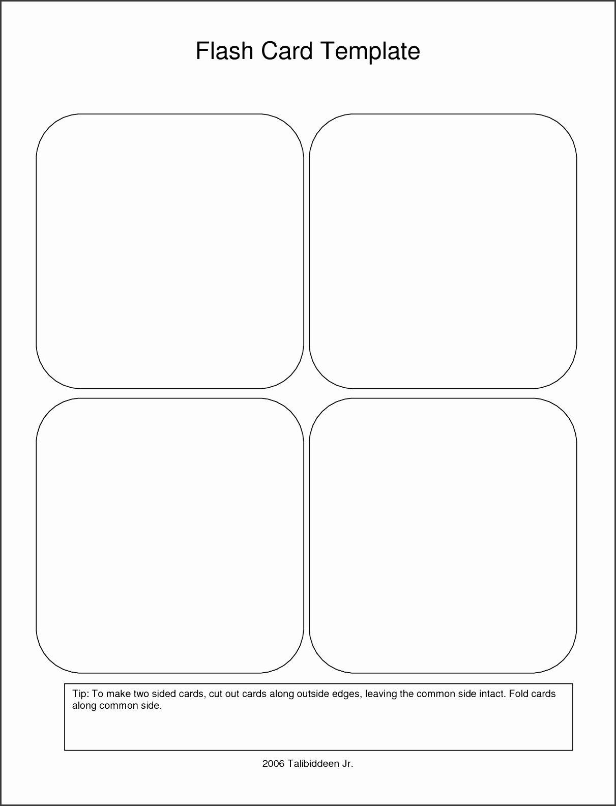 Word Flash Card Template