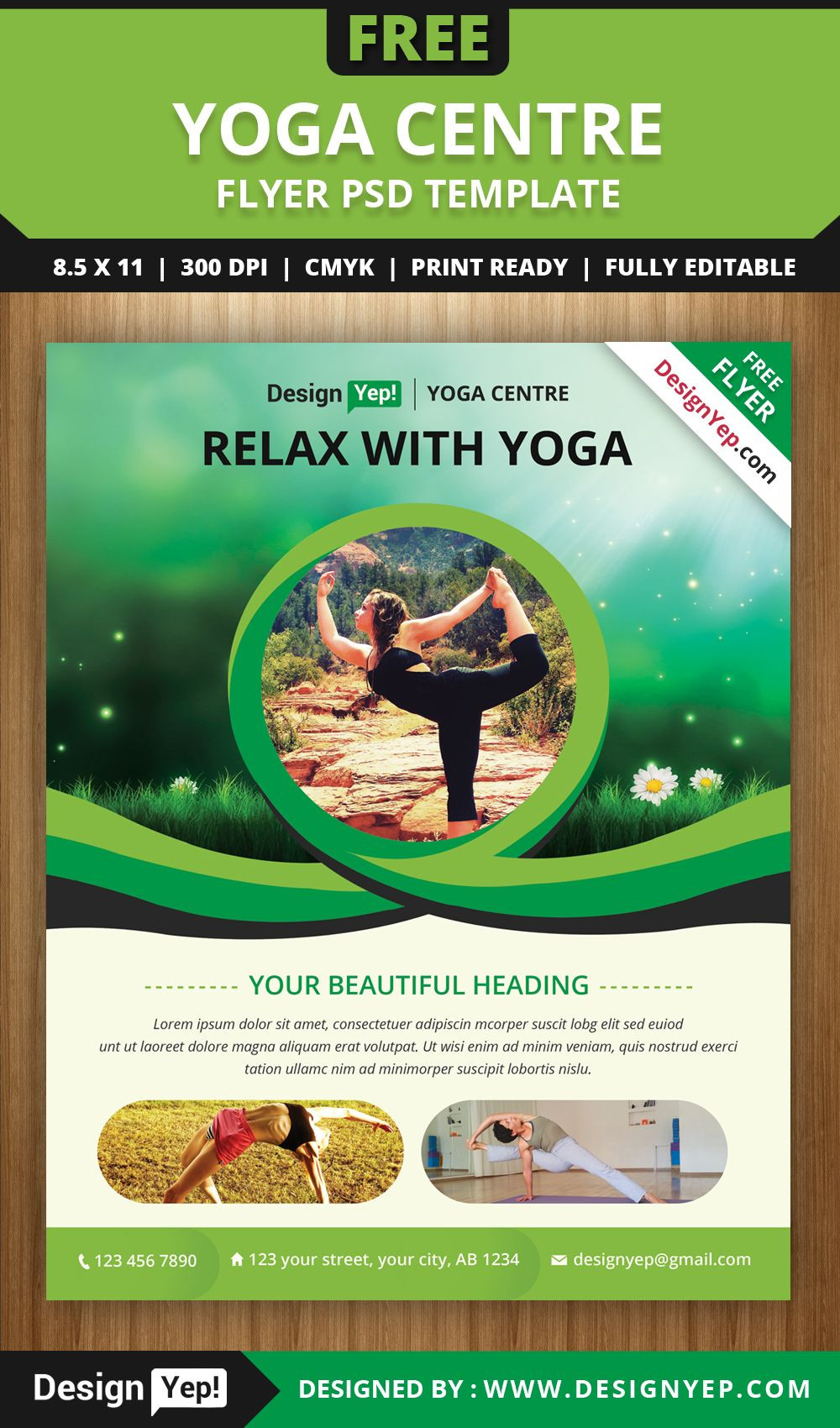 Free Yoga Flyer PSD Template for Download